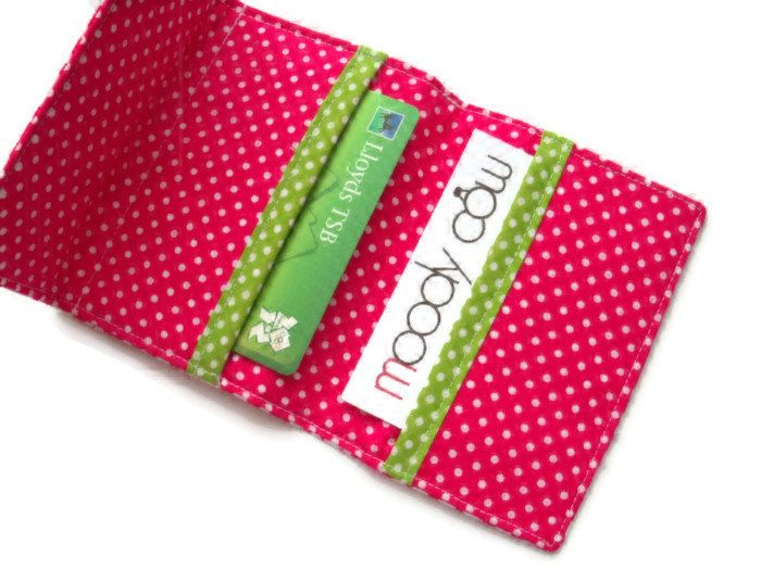 Pink Fabric Card Wallet - Business Card Wallet - Bank cards - Gift Cards - UK SELLER by moodycowdesigns on Etsy