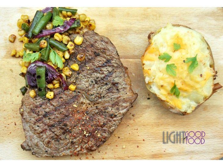 Antricot cu porumb, falose verde si cartof copt 33
