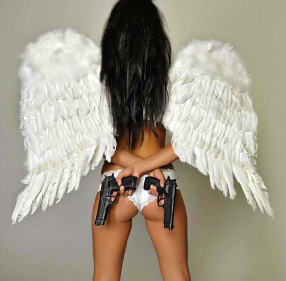 If i could be an angel, i'd be a Victoria Secret Angel... with guns!
