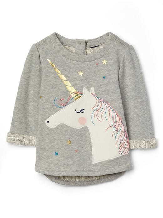 548498408df0 Gap Baby Unicorn Terry Pullover Light Heather Gray