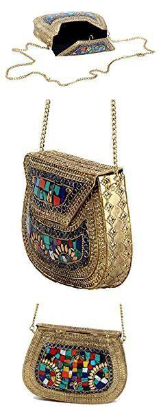Antique Metal Purse. Handmade Antique Metal Clutch Purse Wallet Hard Handbag Elipse Shape for Women Golden Multi 18X13 cm.  #antique #metal #purse #antiquemetal #metalpurse