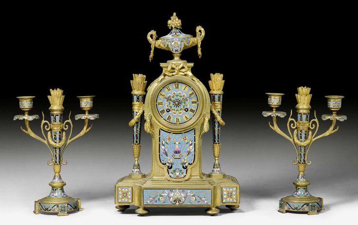 "KAMINGARNITUR MIT ""EMAIL CLOISONNE"", Louis XVI-Stil, Paris u"