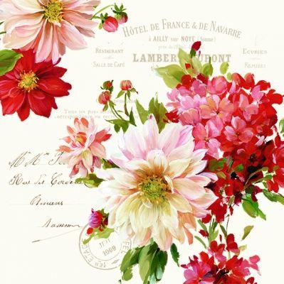 3190 Servilleta decorada flores