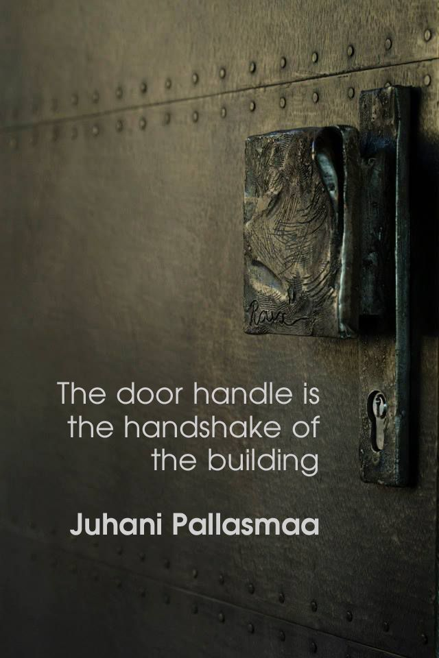 """""""The door handle is the handshake of the building."""" ― Juhani Pallasmaa, The Eyes of the Skin: Architecture and the Senses Custom front door handle, made by Wynand, for House Roux Photo by Driaan Claassen"""