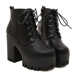 Fashionable Women's Short Boots With Lace-Up and Black Design (BLACK,37) | Sammydress.com Mobile