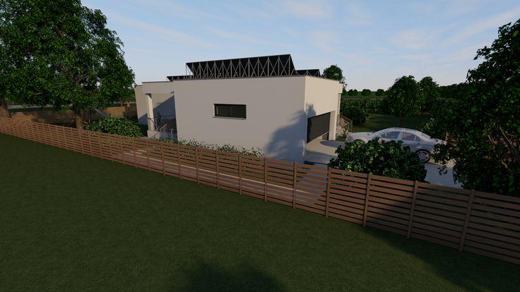 Modern, 5 szobás, 229 m2-es földszintes családi ház mintaterve, alaprajzzal Az északi-keleti homlokzat. Itt kapott helyett a garázs.