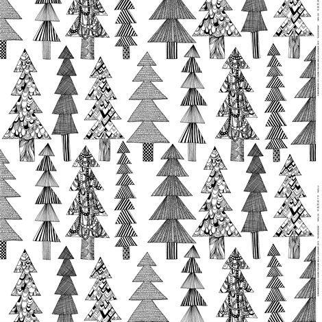 Kuusikossa tyg - svart-vit - Marimekko