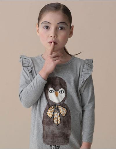 Meleegrijze Lila jurk met uilenprint - Soft Gallery