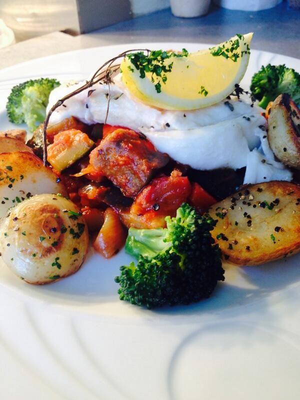 Cod Provençal served with sautée pots & ratatouille @cafe_ceres