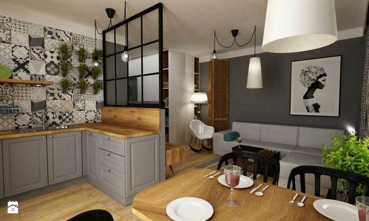 salon z kuchnią - zdjęcie od Grafika i Projekt architektura wnętrz - Salon - Styl Skandynawski - Grafika i Projekt  architektura wnętrz