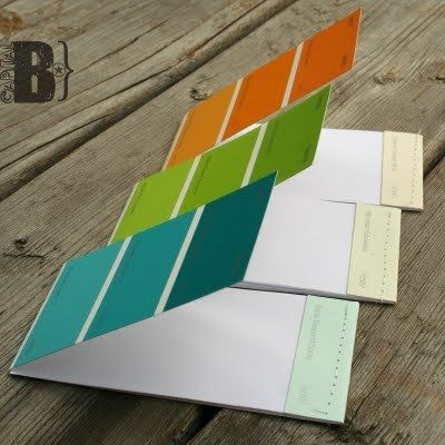 Handy idea. Use the paint chips that were used in room in house and then you'll always have the color with you for accessorizing!