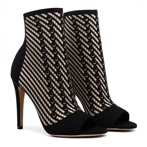 Striped High Heel Ankle Boots ($845) ❤ liked on Polyvore featuring shoes, boots, ankle booties, ankle bootie boots, bootie boots, short boots, high heel booties and ankle boots