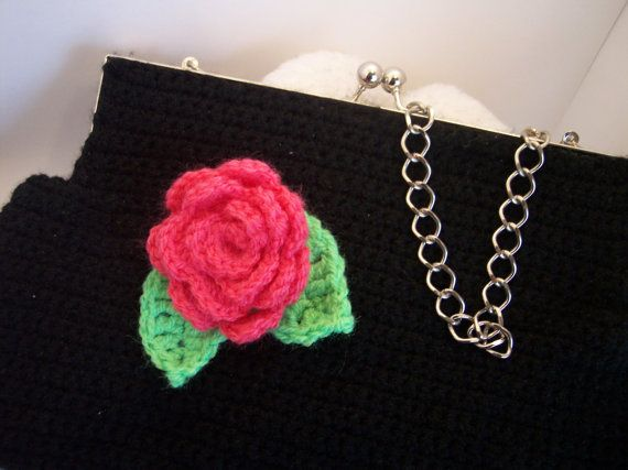 Crochet purse clutch with a broach a crochet flower by ZoiO