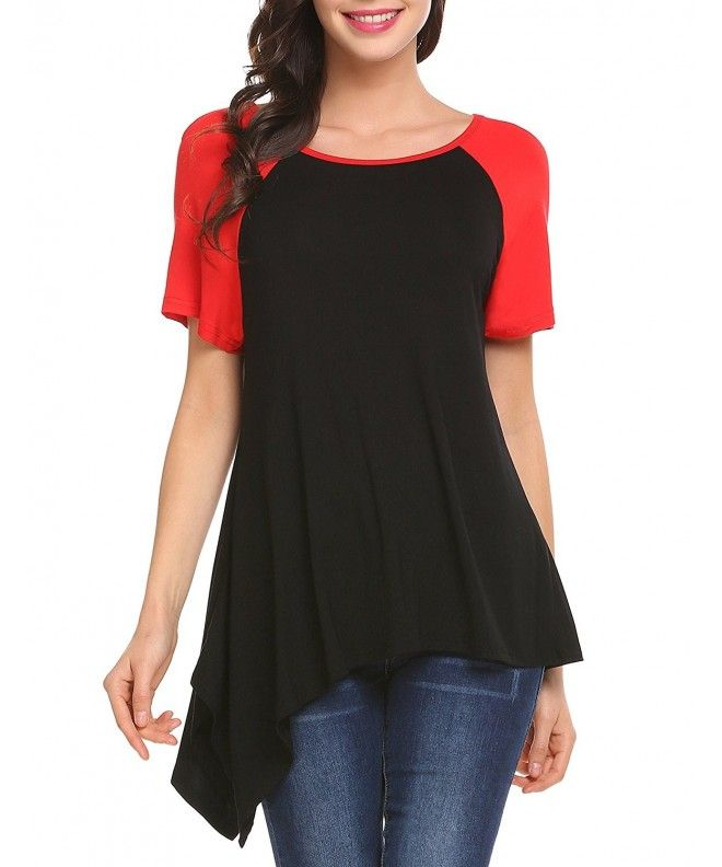 db7788c9061 Women's Raglan Short Sleeve Tunics Baseball T Shirt Tops - Black ...