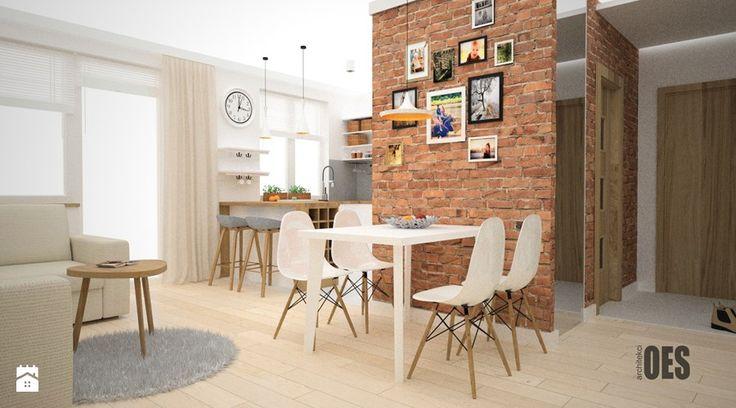 Projekt kuchni i salonu - Salon, styl skandynawski - zdjęcie od OES architekci