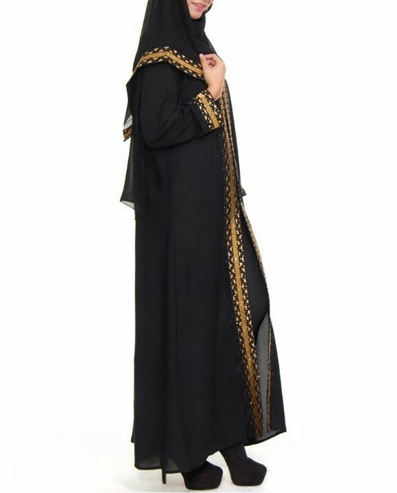 Jubah abaya hitam gold dubai erlina pandangan sisi bersama fashion hijab muslimah labuh #abaya #dress #fashion #muslimah #hijab
