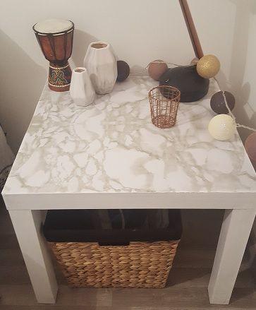 #DIY ♡Sysyinthecity♡ a relooké sa #table pour quelques euros avec un #rouleau d'#adhésif effet #marbre #babou
