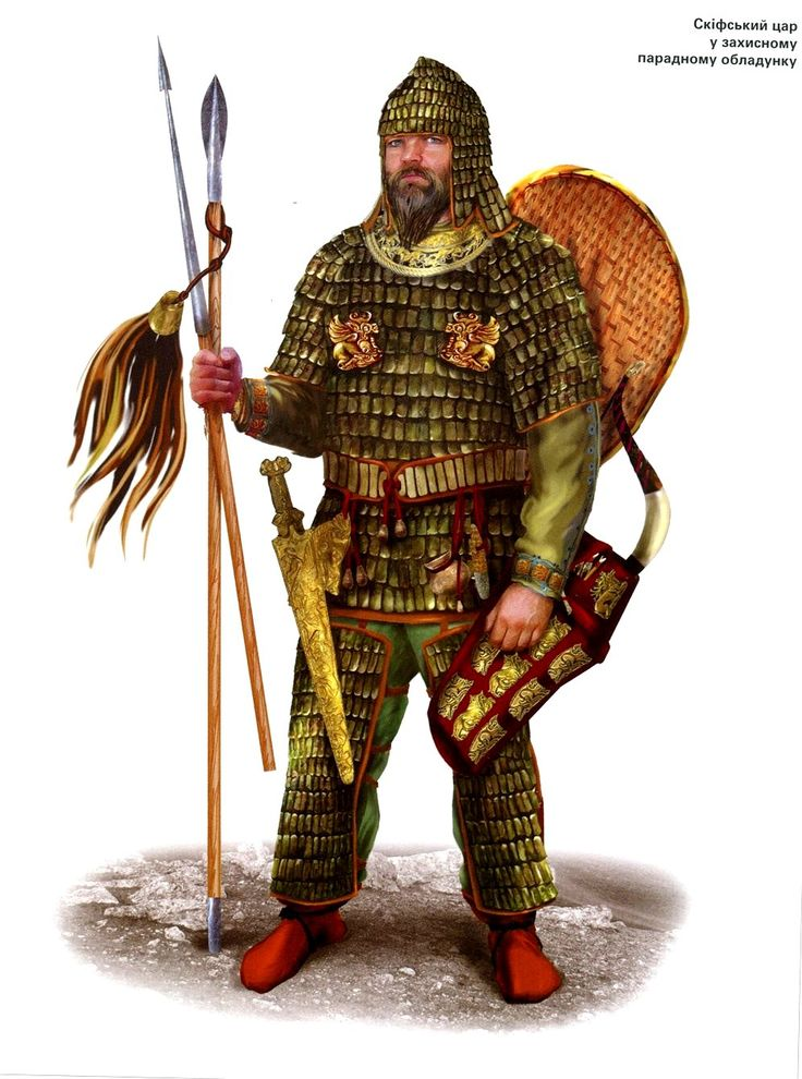 The full-bearded Scythians wore tall pointed caps, long coats clasped around their waists by a belt, and pants tucked into their boots. The wealthier warriors had iron scales sewn to leather as jackets, while the average Scythian relied on their round oblong wicker shields draped in leather for protection.