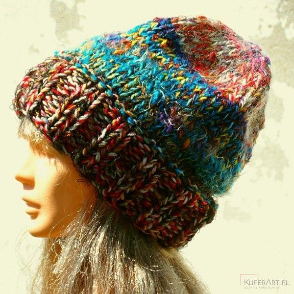 Czapka melanżowa morska - Czapki, berety - Ubrania