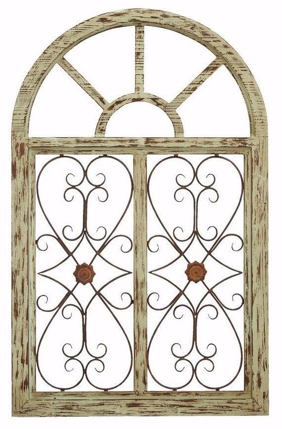 Distressed Shabby Rustic Wood Metal Scroll Garden Gate Arched
