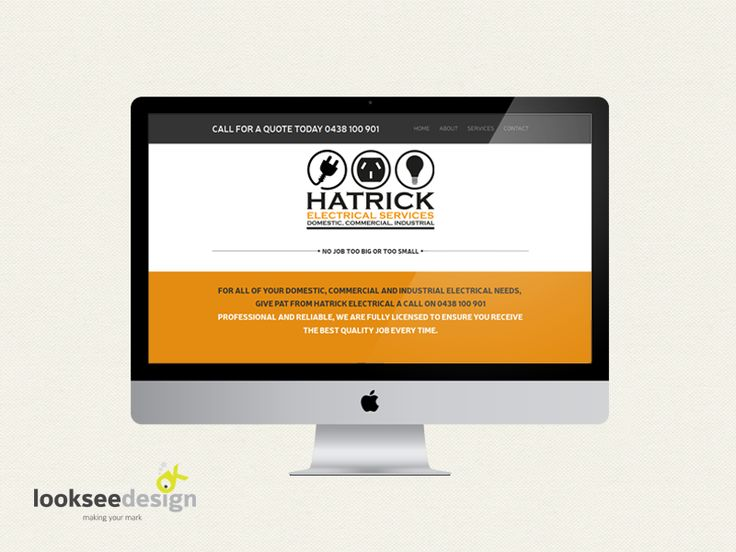 Hatrick Electrical Parallex Website designed by Looksee Design. www.hatrickelectrical.com.au