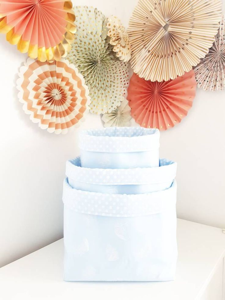 Fabric storage basket, feathers baby blue and white. Container. Nappy basket, toy storage, nursery decor, kids room. FREE UK DELIVERY by MeaBeeDesign on Etsy