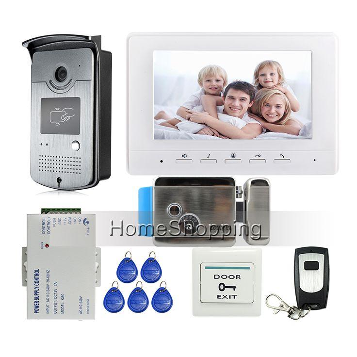 """ÜCRETSIZ KARGO 7 """"ekran Görüntülü Interkom Kapı Telefon Sistemi + 1 Beyaz Monitör + Açık RFID Erişim Kapı Zili Kamera + Elektrikli Kilit"""
