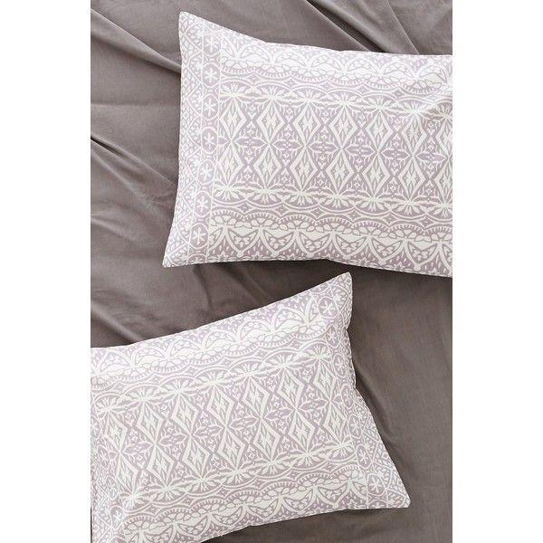 Plum & Bow Agra Stripe Sham Set (33 NZD) ❤ liked on Polyvore featuring home, bed & bath, bedding, bed accessories, lavender, light purple bedding, lavendar bedding, cotton bedding, lavender bedding and striped bed linen
