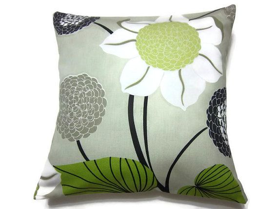 Decorative Pillow Cover Lime Green Chartreuse Black Taupe White Gray Floral Toss Throw Accent 18 ...