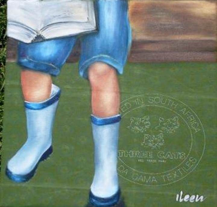oil on shwe shwe - boy with boots