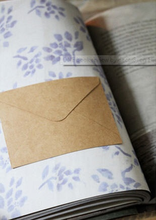 Blue and white floral print on page, with brown envelope for hiding something. 'One' by Victoria Alexander.