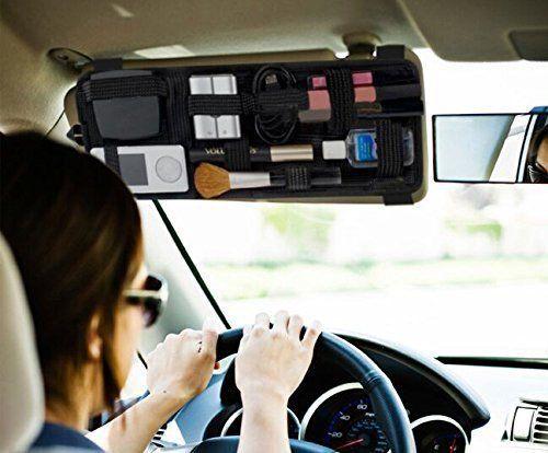 EarthSafe® Car Visor Organizer Ombrelle CD Sunglass Clip Holder tactique Sac pochette cosmétique carte de stockage: Couleur: Noir Le…