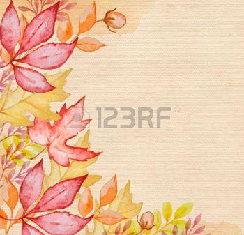 dibujos de hojas de otoño: Watercolor autumn background with red and orange autumn leaves