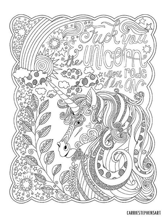 Fck You Unicorn Coloring Page Sweary Adult Coloring Page For