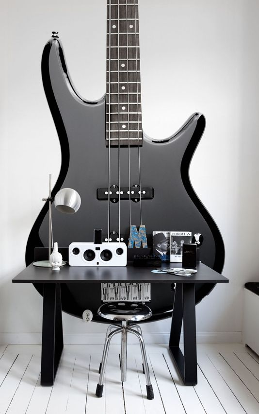 Sound Objects Wall Panel Photographic Bass Guitar wall hanging. contact Fabrics and Papers