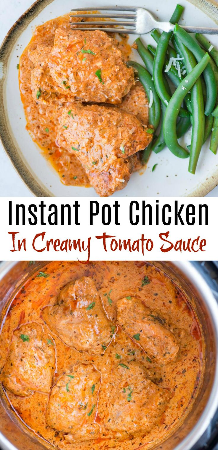 Instant Pot Chicken thighs in a creamy tomato sauce with juicy chicken thighs, b…