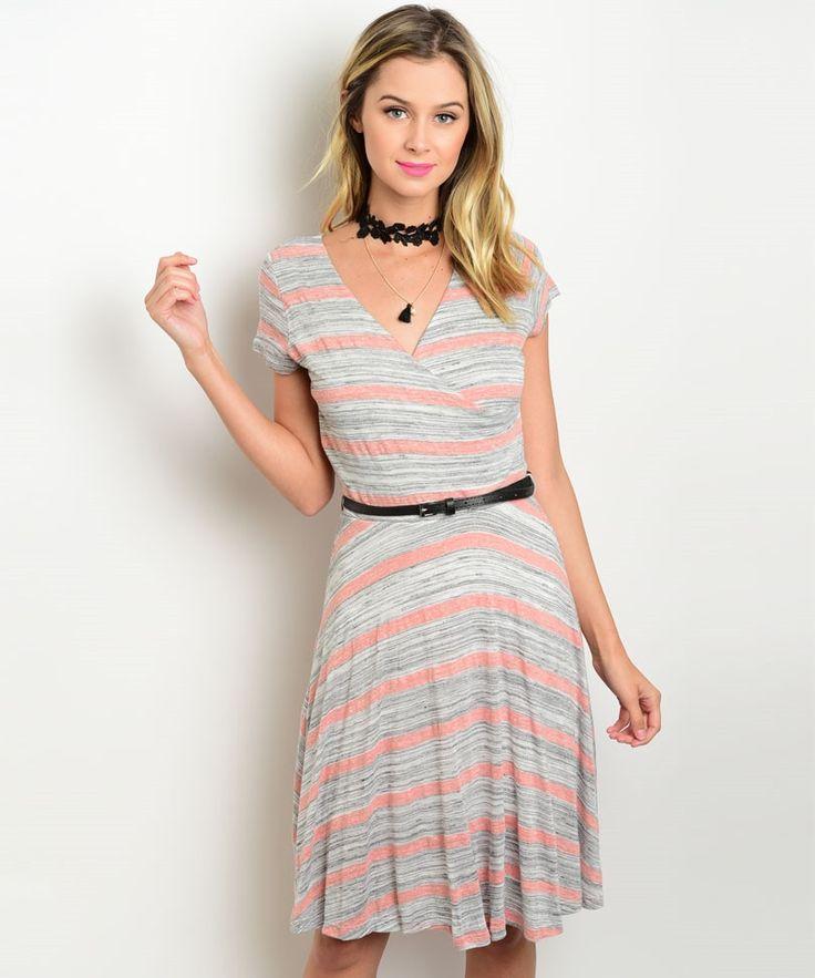Gray Peach Striped A Line Dress