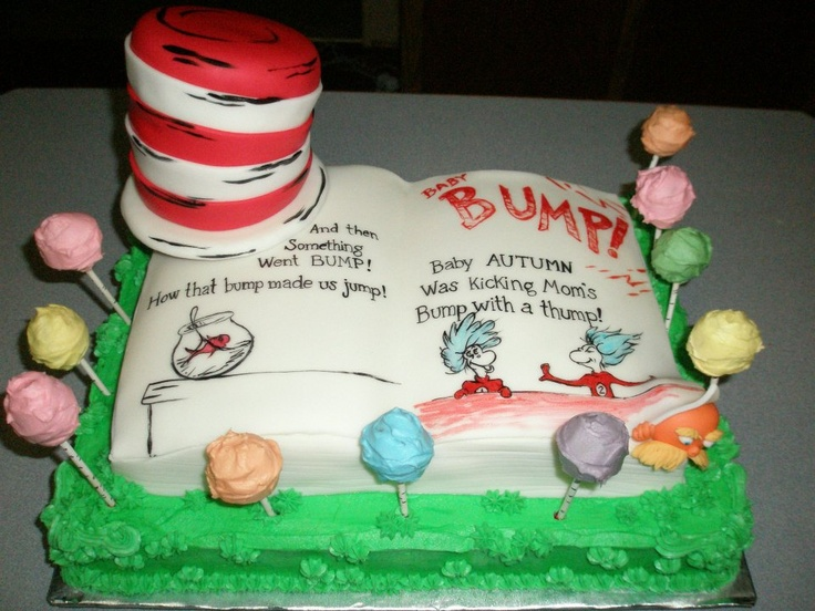 Dr. Suess theme cake for a baby shower... hand painted those letters and pics with my daughter on my lap! What a relief when I finished lol!