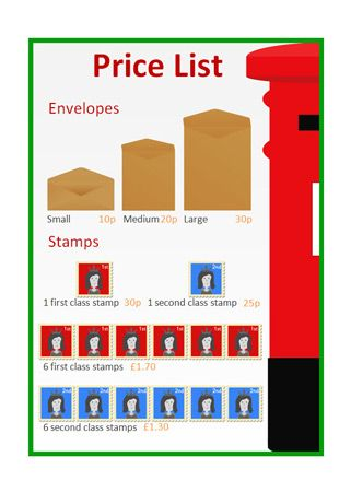 Editable post office price list poster, part of our post office role play series.