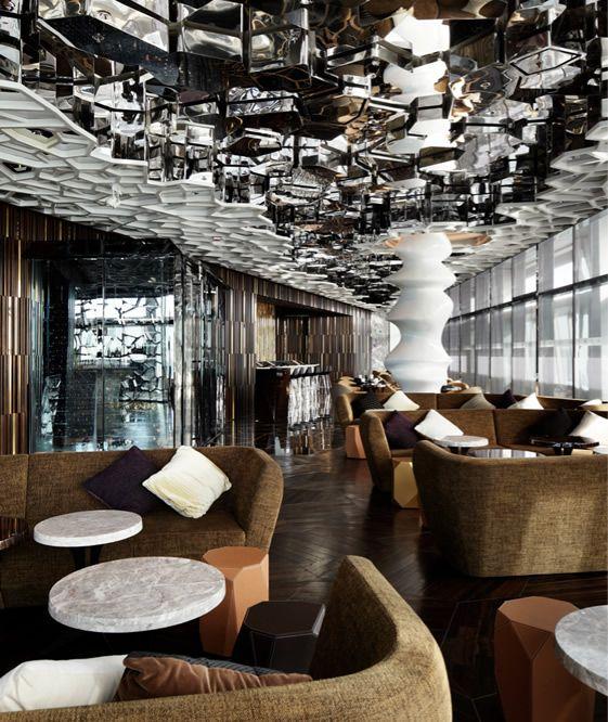 ritz carlton hotel 118th floor in hong kong hotel interiorsrestaurant interiorsrestaurant designcafe - Beaded Inset Restaurant Interior