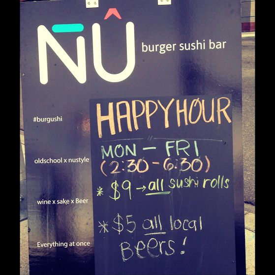 Sushi tastes better during #happyhour - because who doesn't love all rolls for $9?! #burgushi #yycsushi #yycfood #yyc