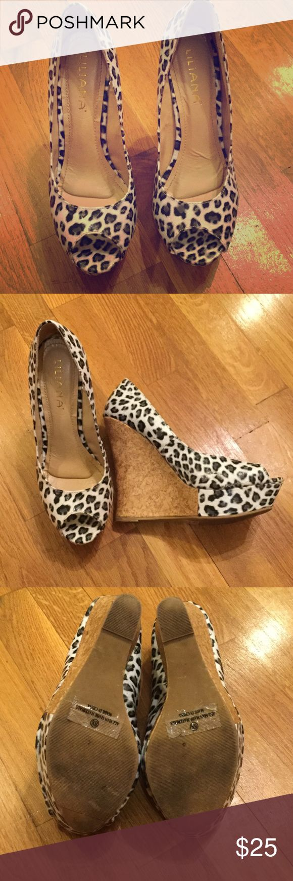 white leopard print wedges Lightly worn Lilliana white leopard print wedges with cork bottoms. Will negotiate prices Liliana Shoes Wedges