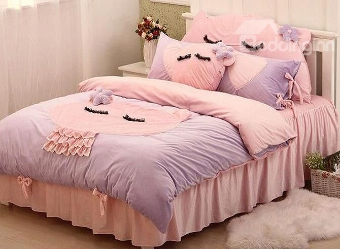Special Design Cute Cat 4 Piece Duvet Cover Sets. Girl BeddingComforter Bedding ...