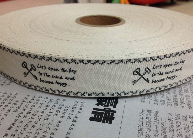 [ Счастливый лента ] ( 25 мм х 100 m / лота ) 100% хлопок лента { давайте открытая в ключ к разума и стать счастливым } zakka ручной работы