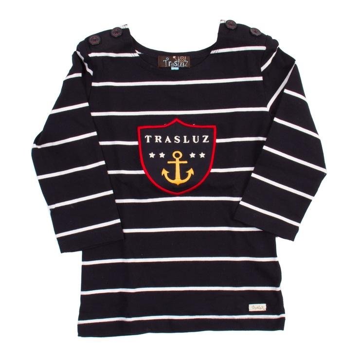 Camiseta niña rayas marinera con escudo
