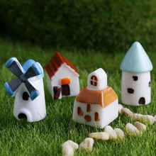 4PCS/set Mini Resin Church Castle Windmill Shed Cabin House Fairy Garden Miniature Craft Micro Cottage Landscape Decoration(China (Mainland))
