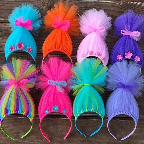 Trolls inspirierten Hair Headband Headband Poppy Troll Headband Wig Pink Tulle Headband Regenbogen Troll Hair Troll Troll Troll Troll Troll Troll Party favoren bevorzugt