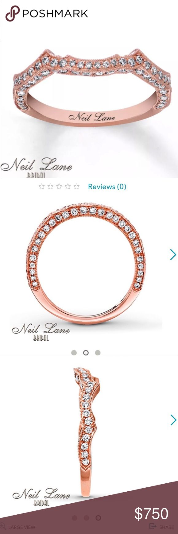 Neil Lane Rose Gold 3/8 carat Wedding Band NEW! Neil Lane Wedding Band 3/8 ct tw Diamonds 14K Rose Gold Contours of 14K rose gold shimmer with round white diamonds in this vintage-inspired wedding band for her from Neil Lane Bridal®. The ring has a total diamond weight of 3/8 carat and is designed to fit alongside the matching engagement ring (sold separately). Neil Lane's signature appears on the inside of the band. Diamond Total Carat Weight may range from .37 - .44 carats. Neil Lane…