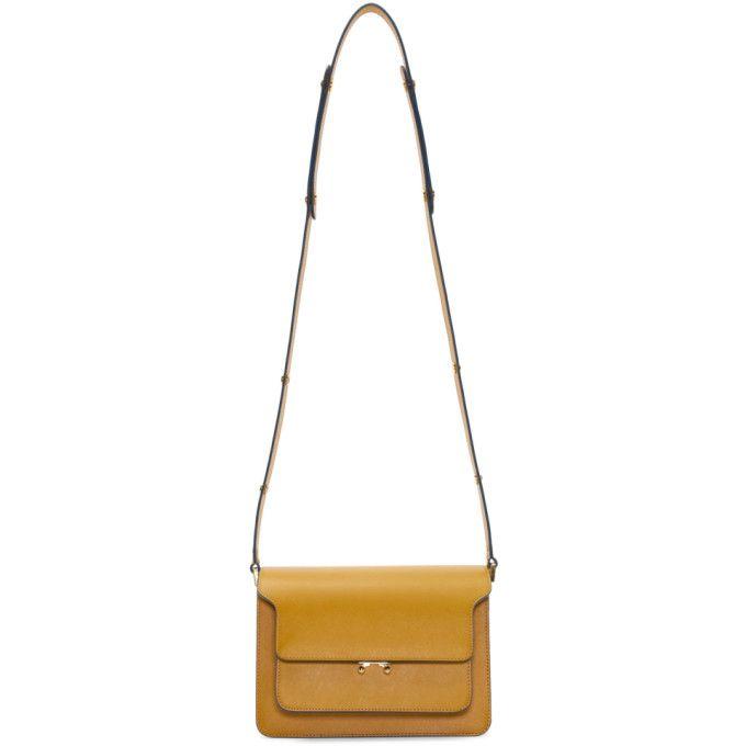 MARNI Yellow Saffiano Medium Trunk Bag. #marni #bags #shoulder bags #