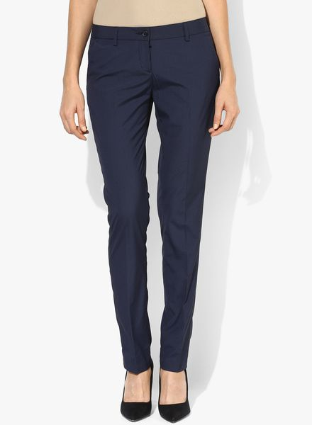Buy Arrow Woman Navy Blue Striped Chinos for Women Online India, Best Prices, Reviews   AR262WA23SMIINDFAS